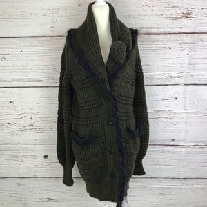Chanel 34 Cashmere Yack Olive Green Bow Sweater